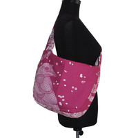 Bike messenger bag with bird pattern fuschia pink white