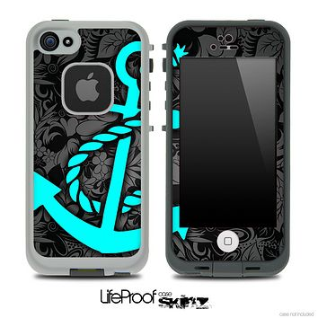 Large Black Floral Print and Turquoise Anchor Skin for the iPhone 5 or 4/4s LifeProof Case