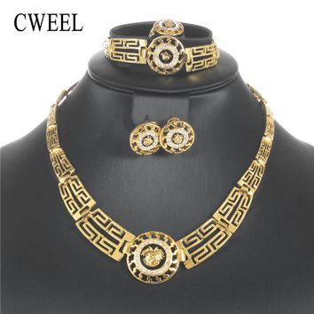 CWEEL Jewelry Sets For Women African Beads Jewelry Set in Gold Color Party Dubai Jewelry Sets For Ladies Bridal Jewellery Set