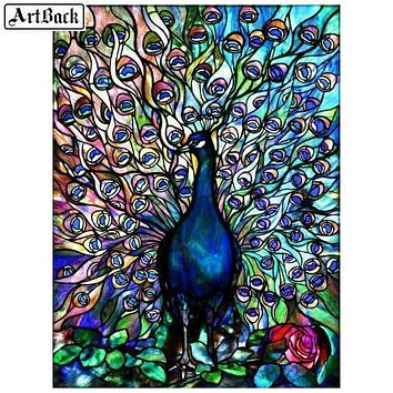 5D Diamond Painting Abstract Tail Peacock Kit