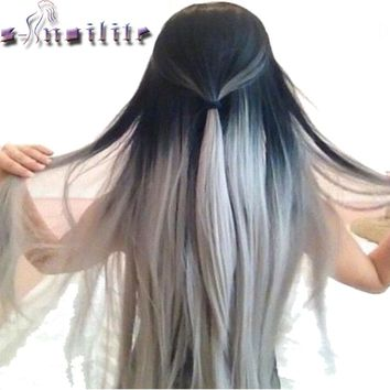 S-noilite 26inch 145g Black to Gray Straight Hair Extentions Clip in on Hair Extension Ombre Hairpiece Synthetic 5 clips ins
