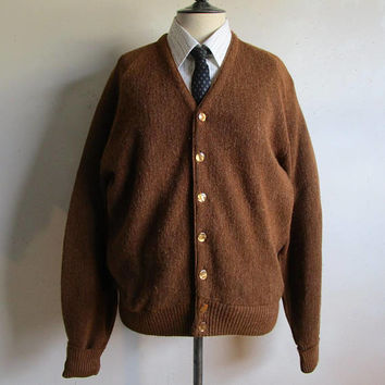 Vintage 1960s Cardigan Warren Knit Dark Brown Long Sleeve Mens 60s Knitted Sweater Lrg