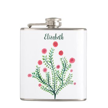 Abstract Spring Plant Pink Green Ink Drawing Name Flask