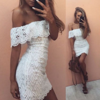 CUTE OFF SHOULDER LACE DRESS