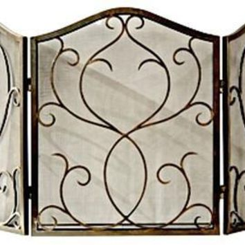 Bronze Flare Scroll Mesh Firescreen