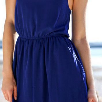 Blue Collar Chiffon Dress Hollow