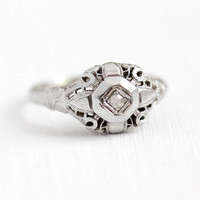 Vintage Diamond Ring - 18k White Gold Filigree 1920s Single Cut Engagement - Size 6 1/2 Art Deco Bridal 20s Wedding Promise Fine Jewelry