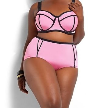 MOACC High Waist Plus Size Padded Two Piece Bikini Set Swimsuit Bright Swimwear