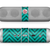 The Teal & Black Sketch Chevron Skin for the Beats by Dre Pill Bluetooth Speaker