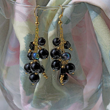 Deep Purple Earrings with Classy Cluster Dangling Grape Wine Colored Glass Beads with Gold Accent