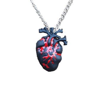 Gothic Heart Anatomy necklace Black & Bloody Red Anatomical Heart Pendant Necklace Love Horror Alterantive