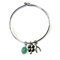 Good Luck Silver Wishbone and Four Leaf Clover Bangle with Green Dangle