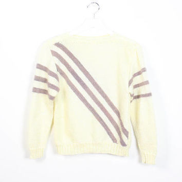 Vintage 80s Sweater Ivory Cream Colored Tan Brown Diagonal Striped 1980s Sweater Stranger Things Pullover Shrunken Fit Jumper XS S Small M