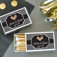 Personalized Gold Glitter Match Boxes (Set of 50)