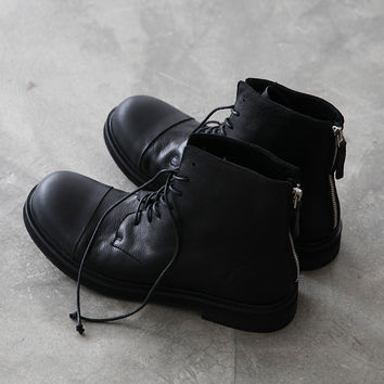 Vintage fashion Genuine Leather  platform shoes zipper personalized round toe men's martin boots high-top Motorcycle men shoes