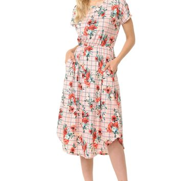 Short Sleeve Flare Midi Dress with Pockets Floral