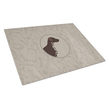 German Shorthaired Pointer In the Kitchen Glass Cutting Board Large CK2188LCB