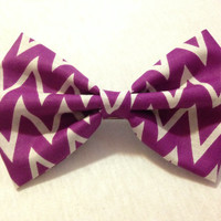 Purple Chevron Hair Bow