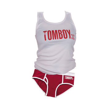 12d44cc44dcd5 TomboyX Tank and Briefs - Red Combo