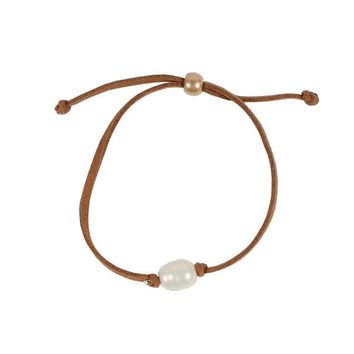 Pearl Leather Bracelet in Light Brown by Country Club Prep