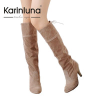 2016 New Arrivals Winter Warm Women Shoes Spike High Heels Knee High Boots Fashion Platform Round Toe Solid Woman Boots