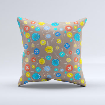 Colored Buttons and Needles Ink-Fuzed Decorative Throw Pillow
