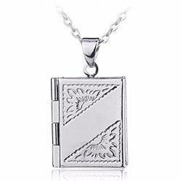 Silver Book Locket Charm Pendant Necklace