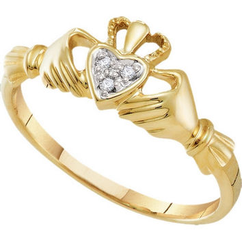 10kt Yellow Gold Womens Round Diamond Dainty Claddagh Heart Ring .01 Cttw