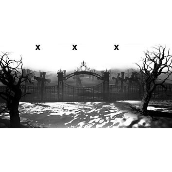 Graveyard with dead trees and gate - Airbrush Stencil
