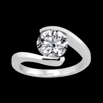 1 carat diamond cathedral setting solitaire ring white gold 14K new