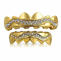 Iced Out Gold Plated Grillz Set Wavey