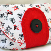 Fall leaves clutch purse, zippered pouch, clutch, fall clutch, wristlet, pouch in white, red, and grey