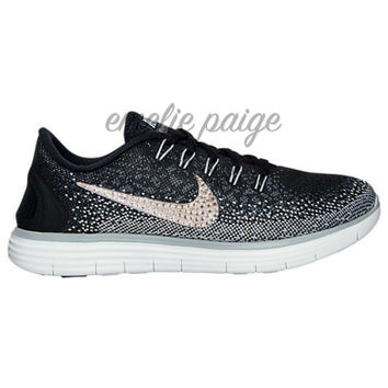 Nike Free Distance (Black/White) running shoes with Swarovski Crystals