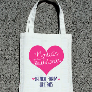 Bachelorette Party Personalized Heart Tote- Wedding Tote Bags