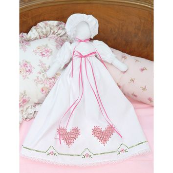 Chicken Scratch Hearts Jack Dempsey Stamped White Pillowcase Doll Kit