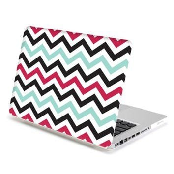 Macbook Pro 13 Case, GMYLE Hard Case Print Frosted for MacBook Pro 13 inch (Model : A1278) - Turquoise Blue and Hot Pink Chevron Pattern Rubber Coated Hard Shell Case Cover (Not fit for MacBook Pro 13 inch with Retina Display)