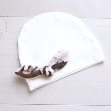 Ivory Newborn outfit newborn girl baby hat with Brown Tied KNOT baby girl hat girl baby hat newborn baby girl hospital hat baby girl hat
