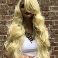 Blonde Hair Super Volume Curly Layered Swiss Lace Front Wig 26"