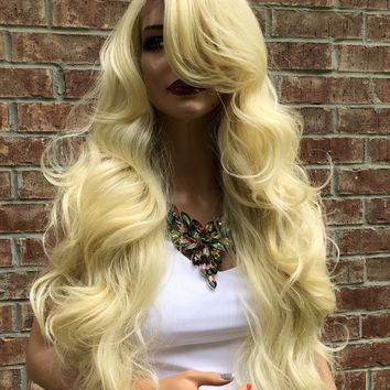 """Blonde Hair Super Volume Curly Layered Swiss Lace Front Wig 26""""   51853"""