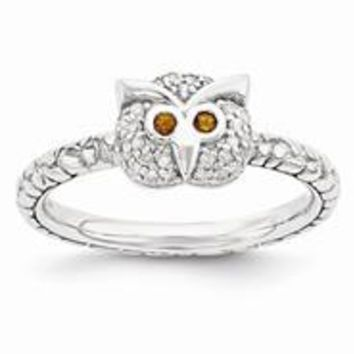 Sterling Silver Garnet & Diamond Owl Ring