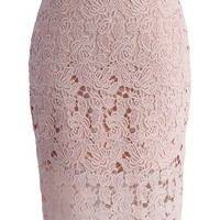 Crochet of Rose Pencil Skirt in Patel Pink