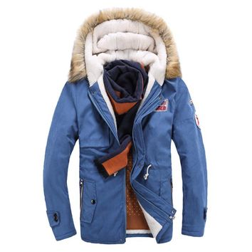 Thick Coat men Fur Collar long Cotton Coat Cashmere Jacket Hooded Winter Warm Coat Wool Liner Down men's jacket parka man MZ086