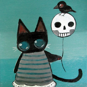 Big Eyed Black Kitty Cat, Outsider Goth Kids Wall Art