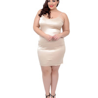 Unique Vintage Plus Size Short Champagne Stretch Slip