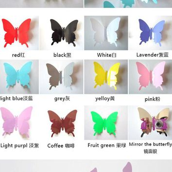 3D 12pcs Butterfly Wall Sticker Home Decor on the Art Wall decal Mural for vintage Home appliances kids Room 12 Color