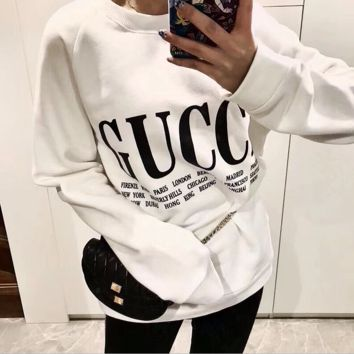 GUCCI HOT SALE Round neck Letter letters printed long sleeve sweater