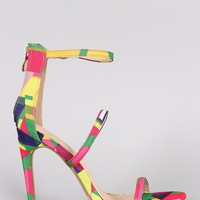 Liliana Multicolor Geometric Pattern Triple Straps Single Sole Heel