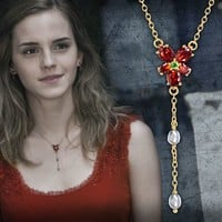 Hermione Red Crystal Necklace at noblecollection.com