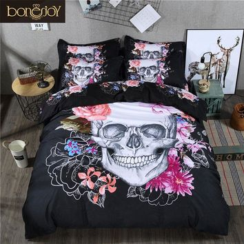 3D Skull Bedding Set Queen Size 3/4 Pcs Sugar Skull Bedding With Flower Bed Linen Luxury housse de couette Skull Duvet Cover
