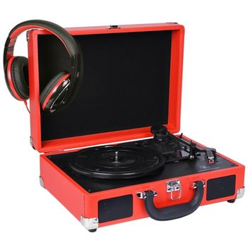 Innovative Technology 3-Speed Vintage Suitcase Turntable w-Built-in Stereo Speakers & Matching Headphones (Red) - B
